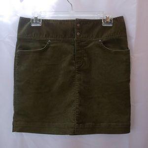 Misses Athleta Olive Green Corduroy Mini Skirt